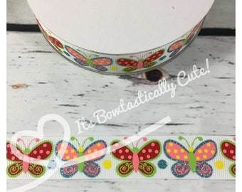 """7/8"""" Butterflies on White, Grape or Black with Turquoise Glitter High Quality USDR Ribbon"""