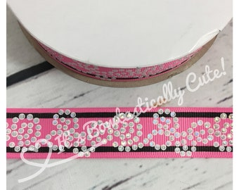 """7/8"""" Grosgrain Rhinestone Looking Holographic Foil Swirls on 6 Colors  Quality USDR Ribbon"""