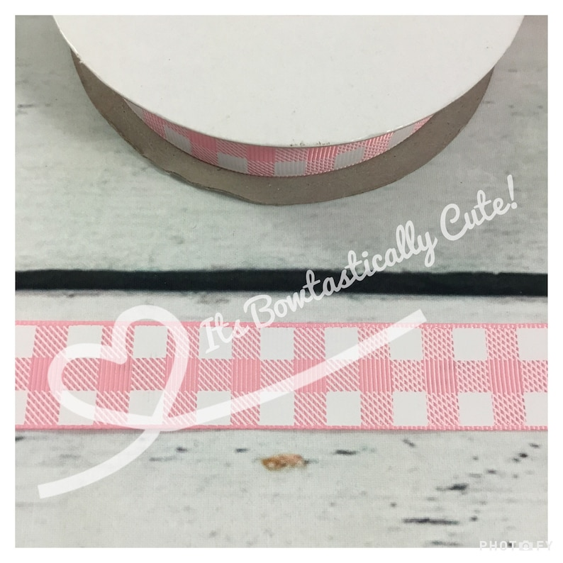f1e93f27d68 7/8 Grosgrain White Buffalo Plaid on Pink Hot Pink | Etsy