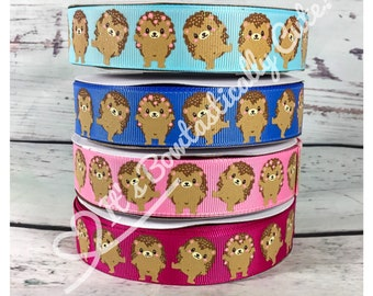 """7/8"""" Grosgrain Cute Hedgehogs with Lt. Glitter on 4 Colors High Quality USDR Ribbon"""