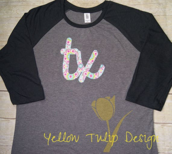 e984d685a Texas Script 3 4 Sleeve Floral Raglan Women s T-shirt TX