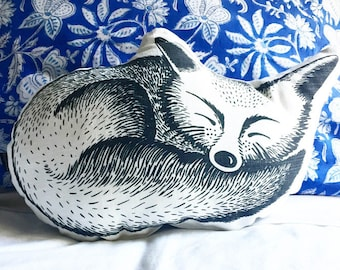 Sleeping fox shaped pillow, woodlands nursery decor cushion, screenprint kids room decor