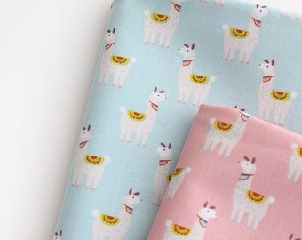 Llama Pattern Cotton Fabric by Yard - 2 Colors Selection