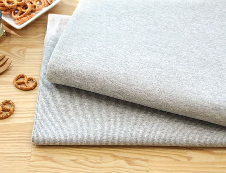 Solid French Baby Terry Knit Fabric by Yard 37 Inch - Melange Grey Width 95cm