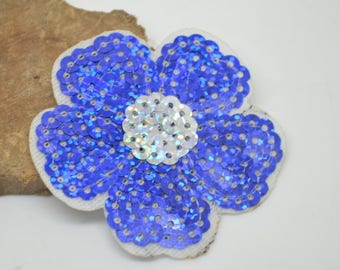 patch Thermo 6 cm or for other blue flower with silver sequins
