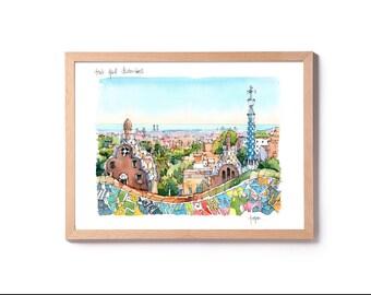 Park Goell Trencadís / Antoni Gaudí / drawing Barcelona PRINT