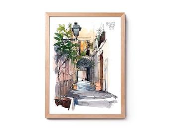 Watercolor of the Born Passatge Sert, illustration of the Born, watercolor of Barcelona, wall art, home décor, original and prints