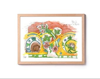Watercolor Palau de la Música Mosaico , modernisme painting, Lluís Domenech i Montaner, original watercolor and prints