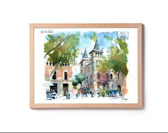 Placa de la Virreina Gracia / Barcelona Watercolour PRINT