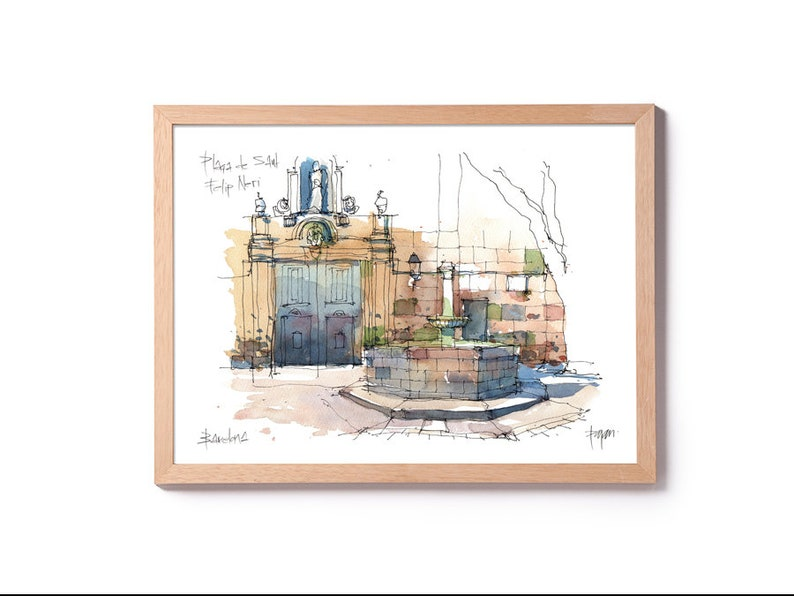 Plaça de Sant Felip Neri / Barri Gòtic / drawing Barcelona image 0