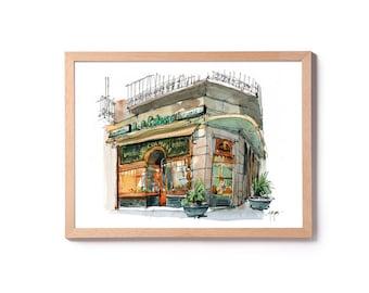 Watercolor of the Pastry La Colmena, illustration of the Gothic Barri, watercolor El Born, Bomboneria, Placa de l'Angel, emblematic shop BCN
