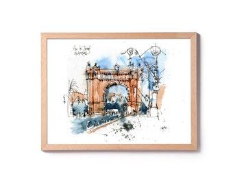 Watercolor of the Arc de triomf of Barcelona, illustration of the Arch of triumfo, watercolor of the Born, art of the wall, original and prints