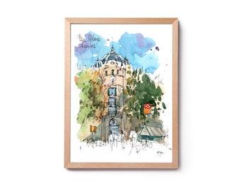 Watercolor Plaza Catalunya, illustration of Les Rambles, watercolor of Barcelona, wall art, home décor, original and prints