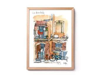 Watercolor of Barceloneta, illustration of the Barceloneta, balcony, Barcelona house, decoration, wall art, original watercolor and prints