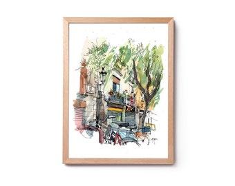 Watercolor of Placa de la Llana, illustration of the Born, watercolor of the Born, wall art, home décor, original and prints