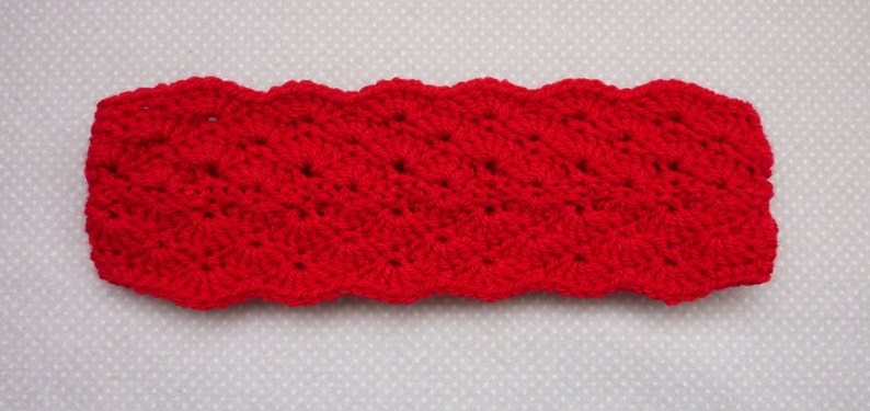 RTS Double shell crochet headband earwarmer in red handmade for women girls SALE!!