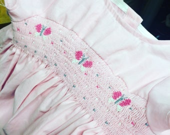 PINK butterfly SMOCKED dress