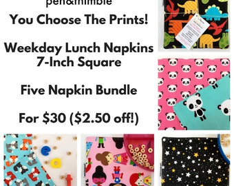 Easter gift etsy cloth napkin bundle five napkin set 7 inch square napkins easter gift for lunchbox small napkins childrens lunch montessori school negle Choice Image