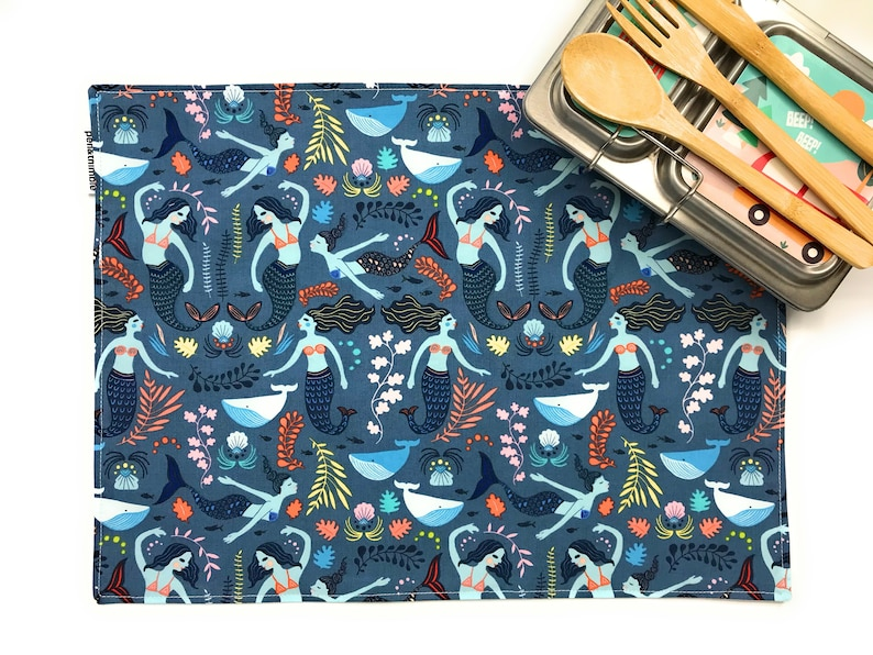 Kitchen Placemat Mermaids and Whales washable place mat for image 0