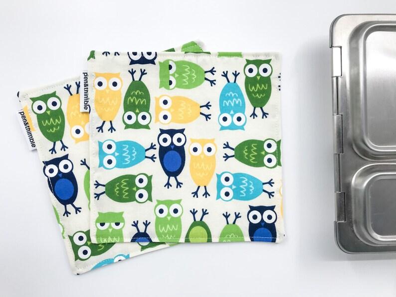 Kids Cloth Napkins Woodland Owl Two Square Napkins 7 x7 image 0