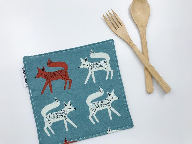 Cloth Napkin 2-Set Woodland Fox Eco-Friendly Cotton image 0