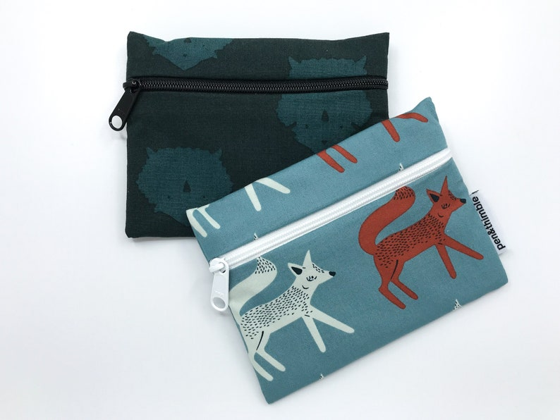 Zipper Pouch  Reusable Snack Bag Set  Triceratops and Sneaky image 0