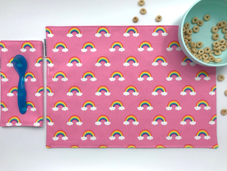 Rainbow Placemat and Napkin Set  Set of One Placemat and One image 0