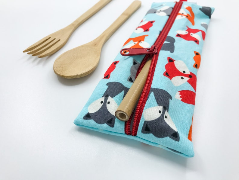 Cutlery Pouch Reusable Straw Bag Pencil Pouch Back To image 0