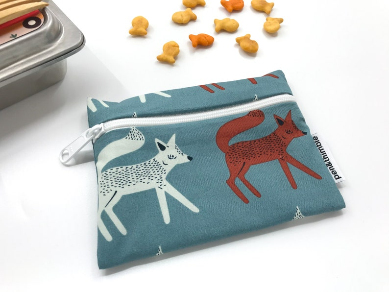 Snack Bag For Kids Lunches Sneaky Foxes BPA Free Plastic image 0