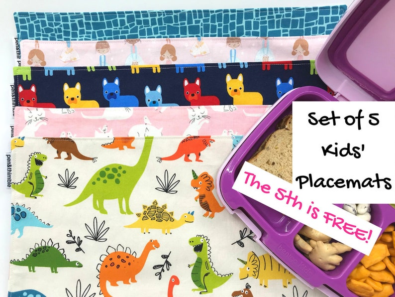 Placemat Bundle For Children Set of Four Kids Dining Mats Cotton Upper with Waterproof Backing