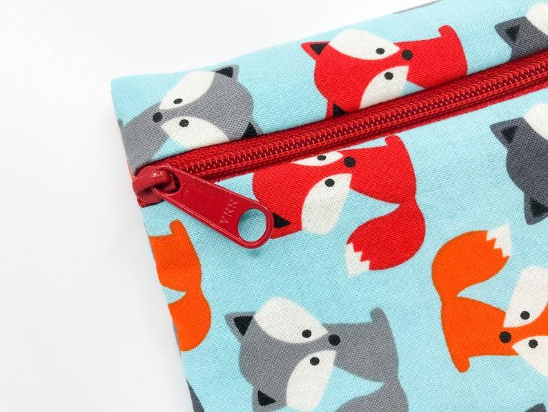 Reusable Baggie For Kids Snacks Fun Foxes Lunch Bag BPA image 0