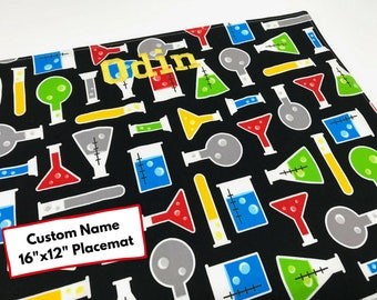 Science Beakers Custom Name Placemat (STEM Kids, Washable Placemat, Back To School, Cotton Placemat, For Children, Montessori Lunch)