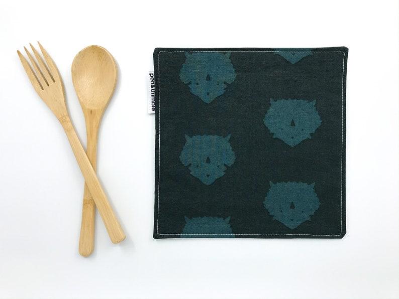 Dinosaur Napkin 2-Set Eco-Friendly Travel Reusable Cotton image 0