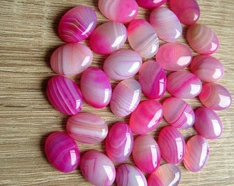 2pcs Natural Pink Striped Agate Cabochons 18 x 13 mm Hot Pink Agate Gemstone Cabochon Natural Oval Cabochon Flat back Jewelry Supplies