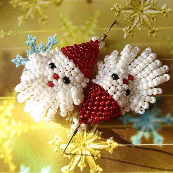 Christmas  Beaded Earrings Santa Claus Earrings  Christmas  Gift Earrings Gift For Her Christmas Jewelry  Ready to ship