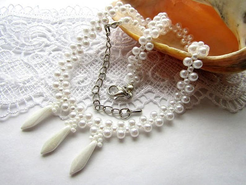 Choker Necklace White  Bead Choker Necklace Charm Choker Gift for Her Pendant Choker OOAK Jewelry Ready to ship