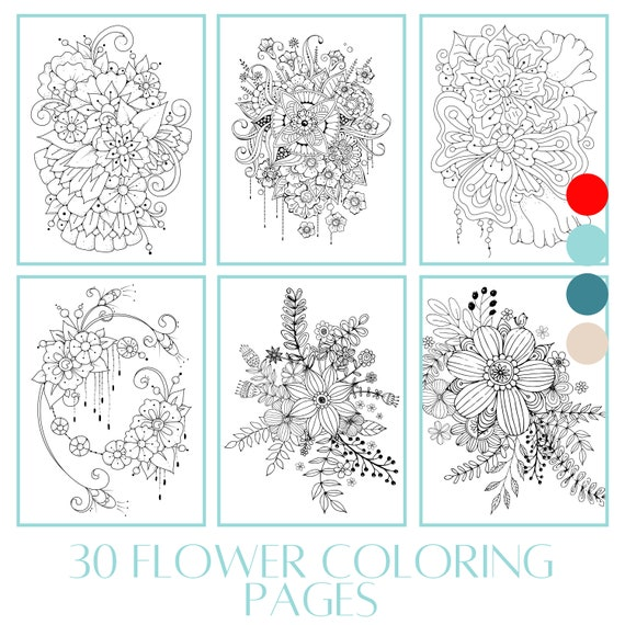 30 Flower Coloring Pages BOOK 2  Floral printables  adult