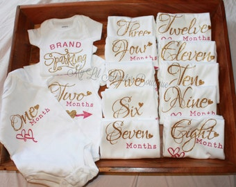monthly onesies/ onesie set/ coming home outfit/ Bodysuit milestone/ gold  and pink/ glitter gold