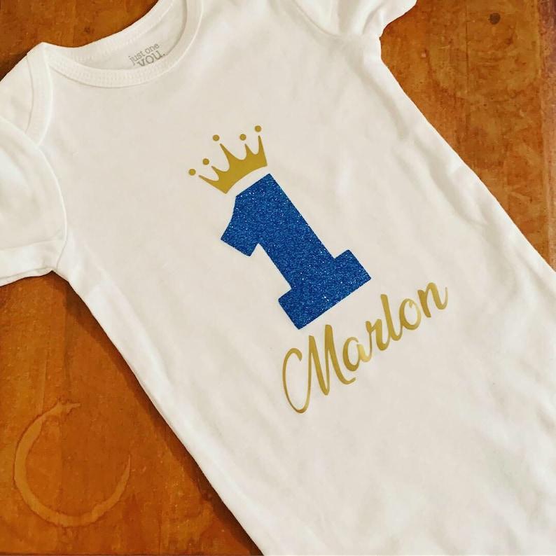 first birthday onesie baby boyroyal little prince gold glitter blue birthday royal first birthday king