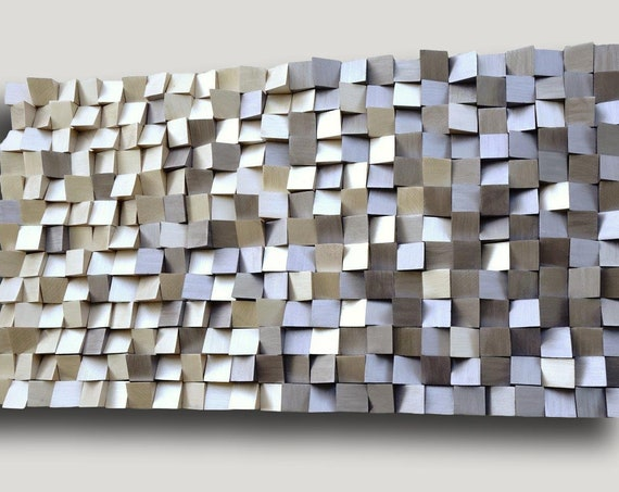USA ONLY, 3D wood wall art gold and silver, mosaic wood wall art