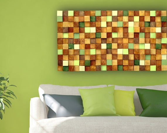 Rustic Modern Autumn Wood Wall Art, Handmade with Real Wood, Textured Mosaic Wall Hanging,3D Wall Art, Colorful Murals for Interior Design