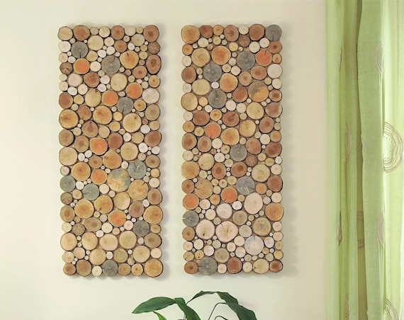 wood wall art - a set of twin 2 panles, Tree rounds decor, tree slice wall board, modern wood art