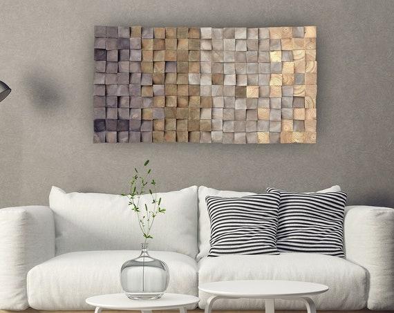 USA ONLY, 3D wood wall art, mosaic wall hanging,textured wood wall art, wood wall decor grey brown, modern wooden wall art