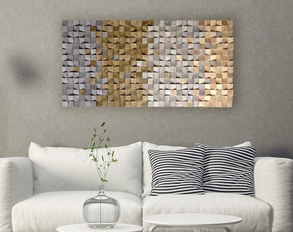 textured wood wall art, mosaic wall hanging, 3D wood wall art, wood wall decor grey brown, modern wooden wall art
