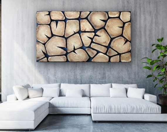 burn wood wall art large, shou sugi ban Wall Hanging, burn tree slabs wall panel for home and office, mosaic wooden wall panel UK