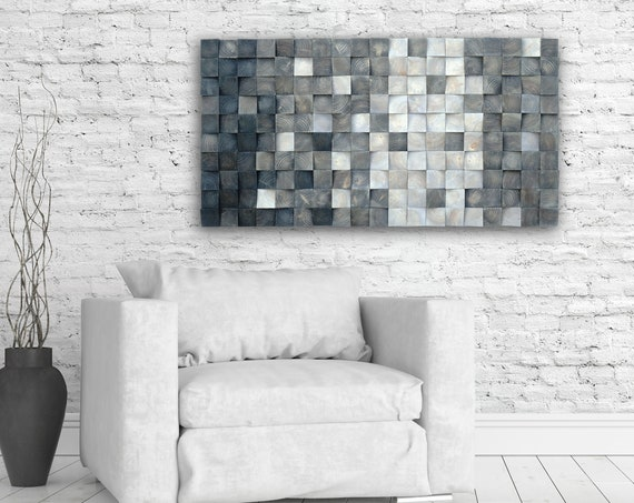 3D wood wall art, mosaic wall hanging, wood block wall art,