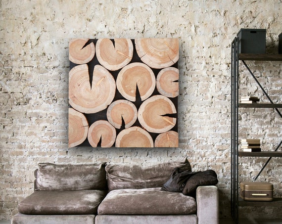 large tree slabs wall art, tree rounds wall decor