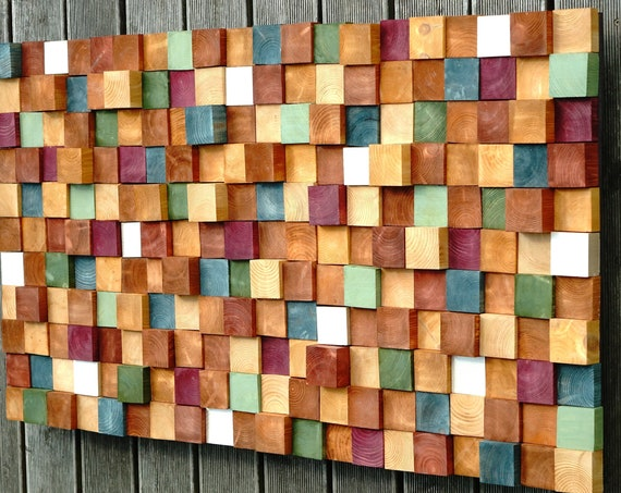 Modern Wood Wall Art, Handmade Contemporary Wall Decor, Easy Wall Hanging 3D Wall Panel, Colorful Decorative Wood Slice for Centerpiece