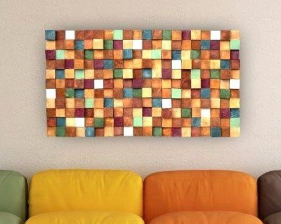 USA ONLY, Modern Wood Wall Art, Handmade Contemporary Wall Decor, Easy Wall Hanging 3D Wall Panel, Colorful Decorative Wood Slice