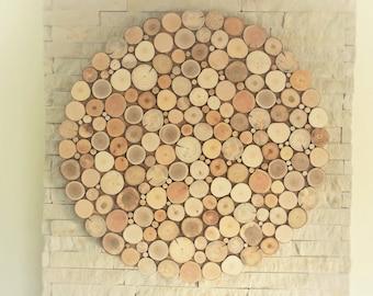 Round Wood Wall Art Tree Rounds Decor Holzwand Kunst Tree Etsy